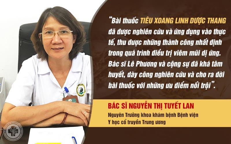 Bác sĩ Tuyết Lan đánh giá cao Tiêu xoang linh dược thang vì có nhiều ưu điểm