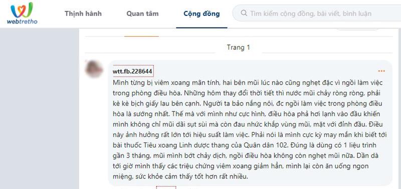 Một bệnh nhân chia sẻ về bài thuốc Tiêu xoang Linh dược thang trên webtretho